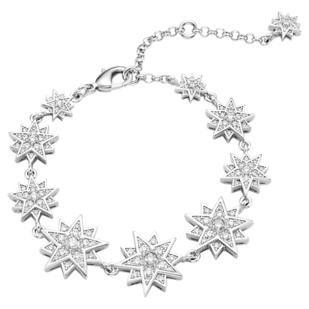 Moonsun Bracelet, White, Rhodium plated - Swarovski, 5489774