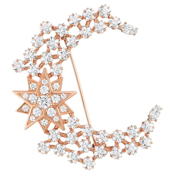 Moonsun Brooch, White, Rose-gold tone plated - Swarovski, 5489775