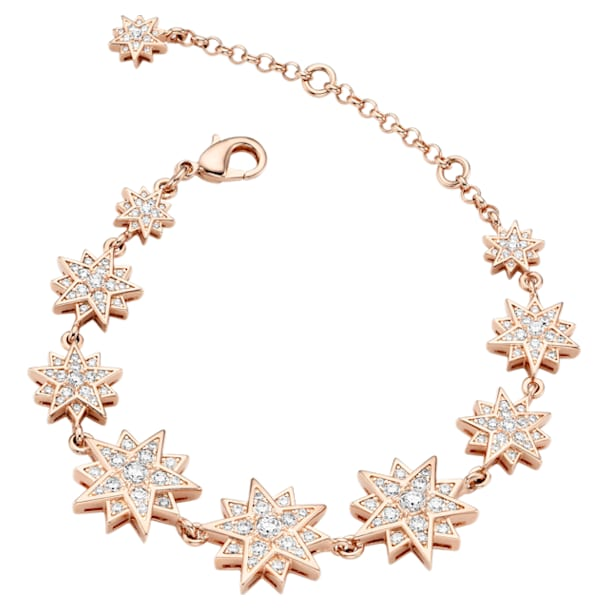 Moonsun Bracelet, White, Rose-gold tone plated - Swarovski, 5489777
