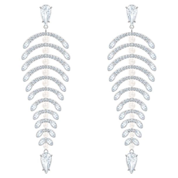Polar Bestiary Chandelier Pierced Earrings, White, Rhodium plated - Swarovski, 5489887