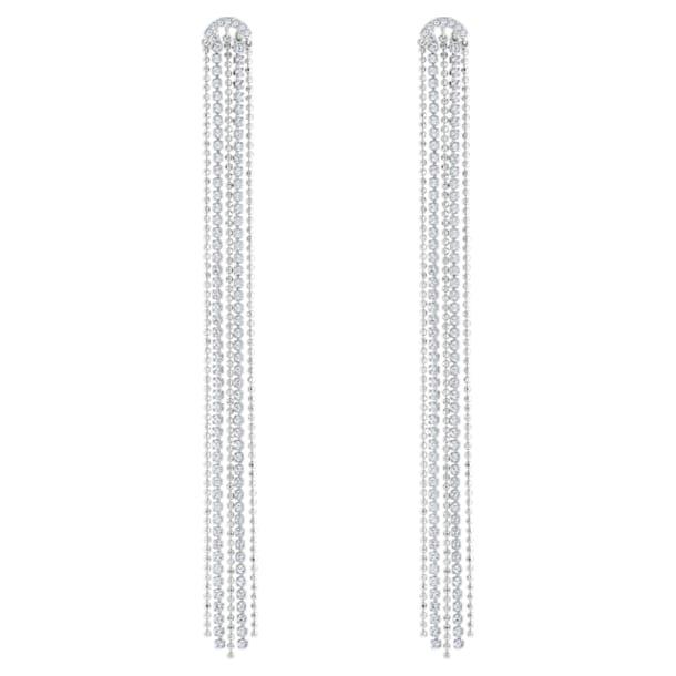 Fit Pierced Tassell Earrings, White, Rhodium plated - Swarovski, 5490190