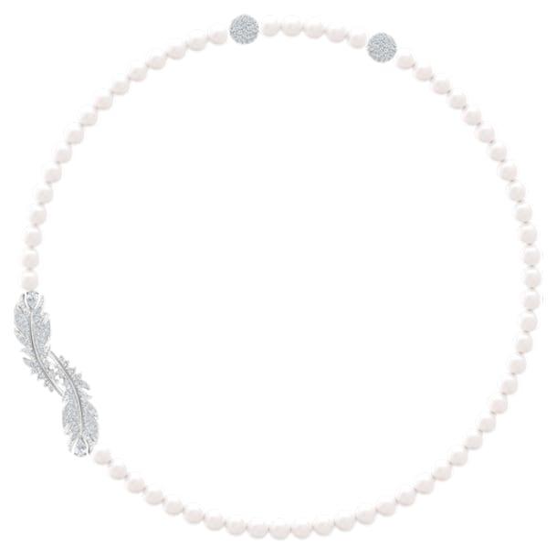 Nice nyaklánc, fehér, ródium bevonattal - Swarovski, 5493403