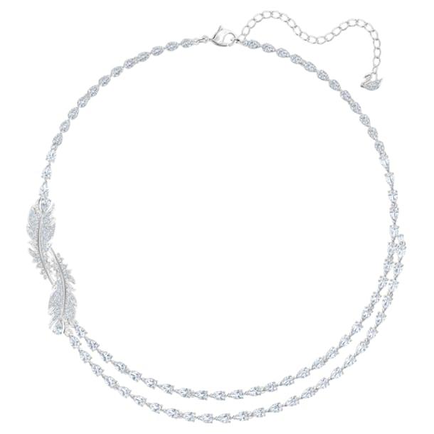 Nice layered necklace, Feather, White, Rhodium plated - Swarovski, 5493404