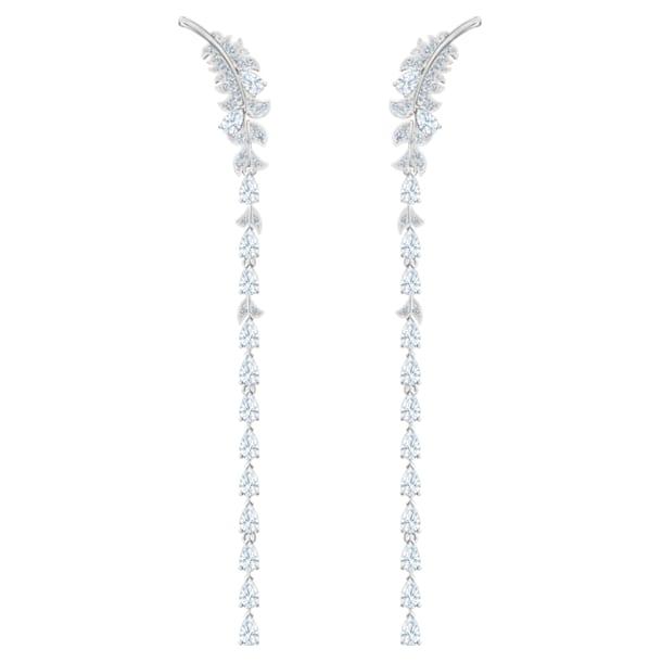 Pendientes Nice, blanco, Baño de Rodio - Swarovski, 5493406