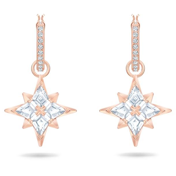 Swarovski Symbolic hoop earrings, Star, White, Rose gold-tone plated - Swarovski, 5494337