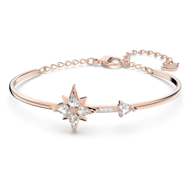 Swarovski Symbolic Bangle, White, Rose-gold tone plated - Swarovski, 5494338