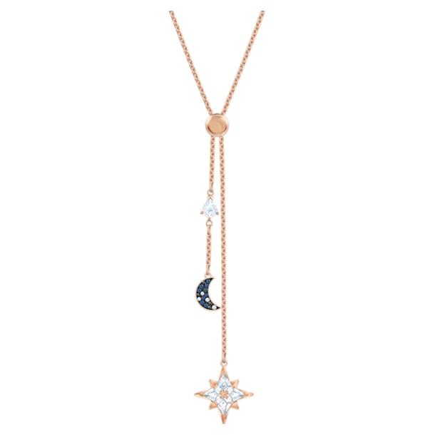 Collana a Y Swarovski Symbolic, Luna e stella, Blu, Placcato color oro rosa - Swarovski, 5494357