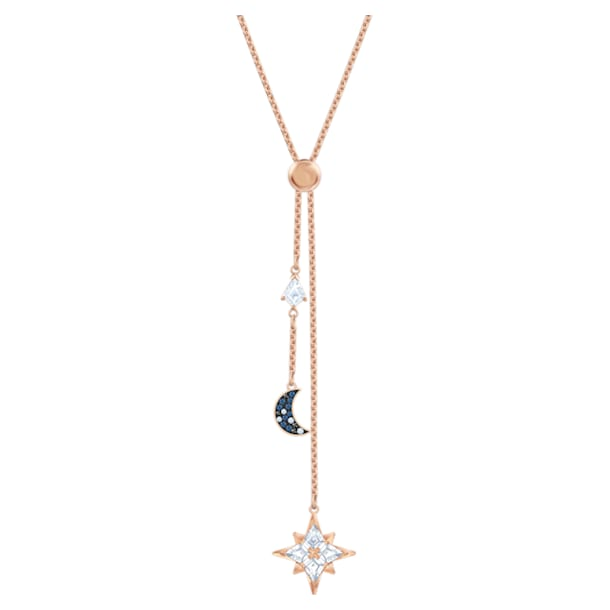 Swarovski Symbolic Y形项链, 月亮和星星, 蓝色, 镀玫瑰金色调 - Swarovski, 5494357