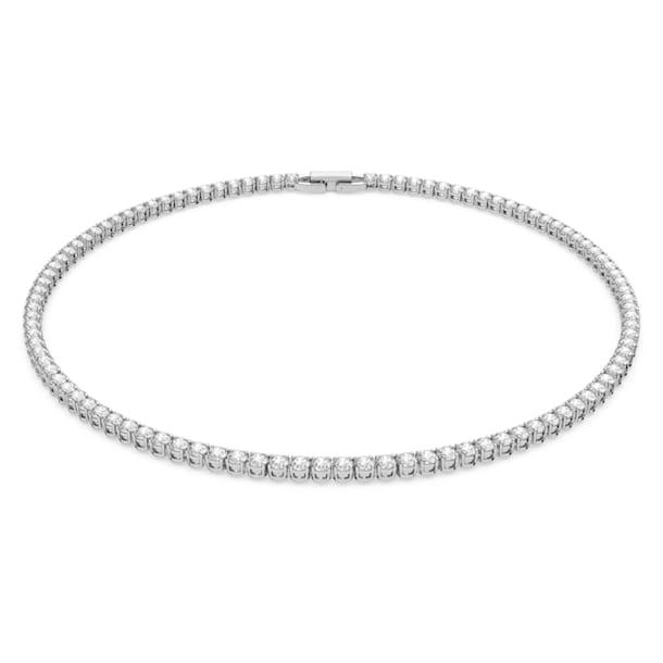 Κολιέ Tennis Deluxe, Στρογγυλό, Λευκό, Επιμετάλλωση ροδίου - Swarovski, 5494605