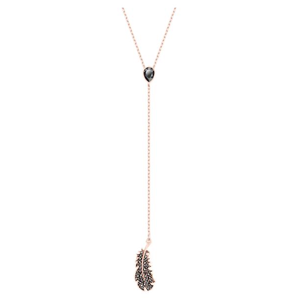 Náhrdelník Y Naughty, Černá, Pokoveno v růžovozlatém odstínu - Swarovski, 5495299