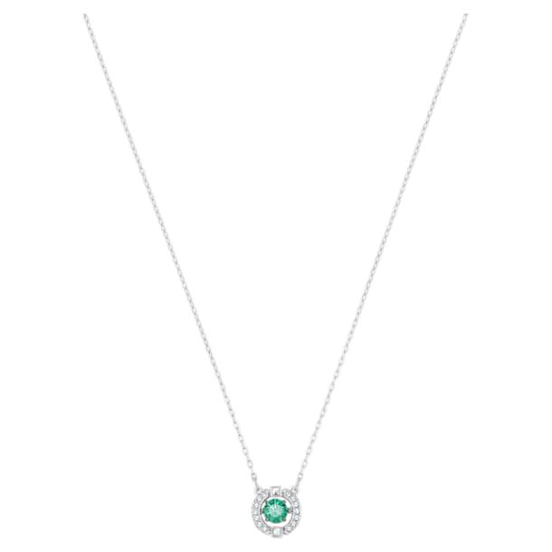Swarovski Sparkling Dance necklace, Round cut crystal, Green, Rhodium plated - Swarovski, 5496308