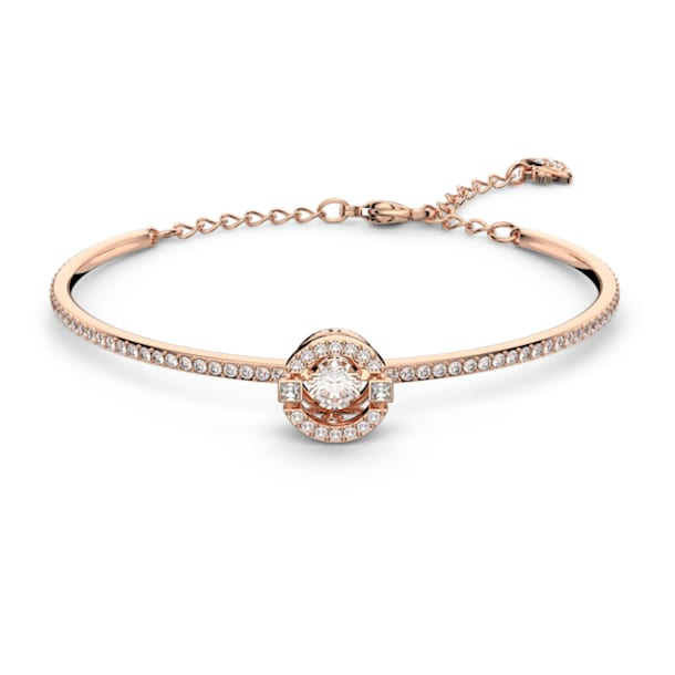 Swarovski Sparkling Dance Bangle, White, Rose-gold tone plated - Swarovski, 5497483