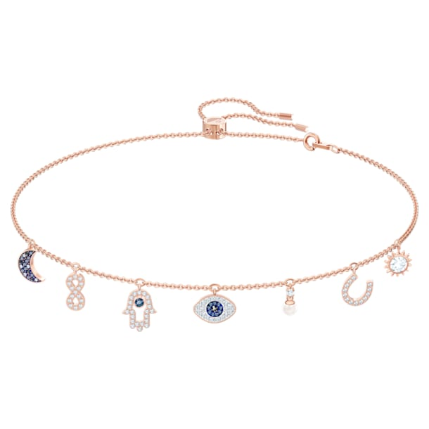 Swarovski Symbolic Halskette, Mond, Unendlichzeichen, Hand, Augensymbol und Hufeisen, Blau, Roségold-Legierungsschicht - Swarovski, 5497664
