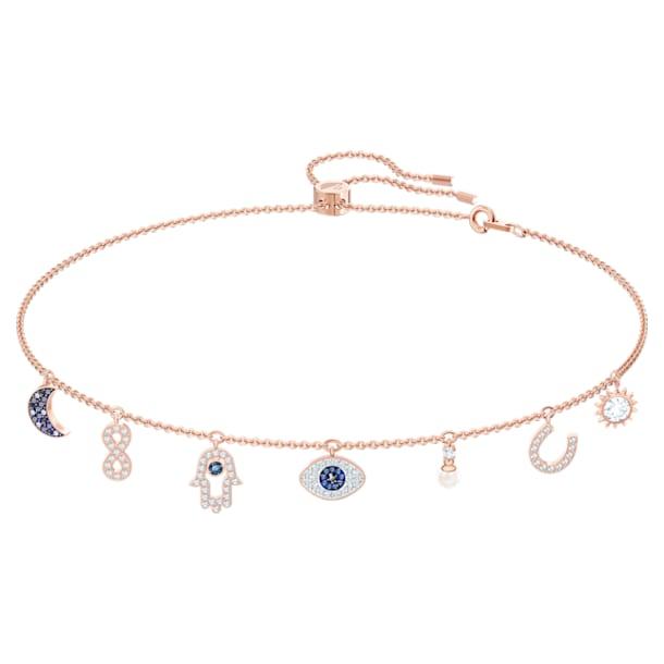 Swarovski Symbolic necklace, Moon, infinity, hand, evil eye and horseshoe, Blue, Rose-gold tone plated - Swarovski, 5497664