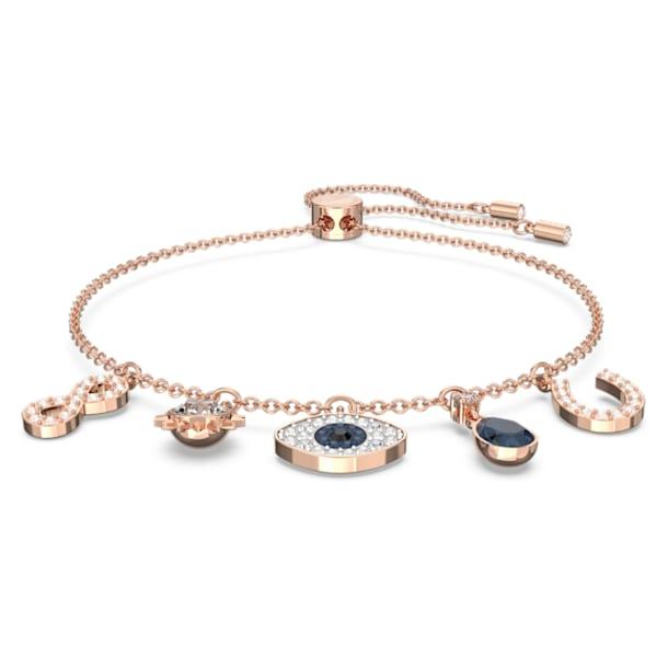 Pulsera Swarovski Symbolic, Infinito, ojo turco y herradura, Azul, Baño tono oro Rosa - Swarovski, 5497668