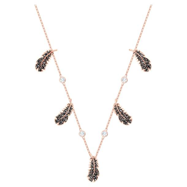 Obojkový náhrdelník Naughty, Černá, Pokoveno v růžovozlatém odstínu - Swarovski, 5497874