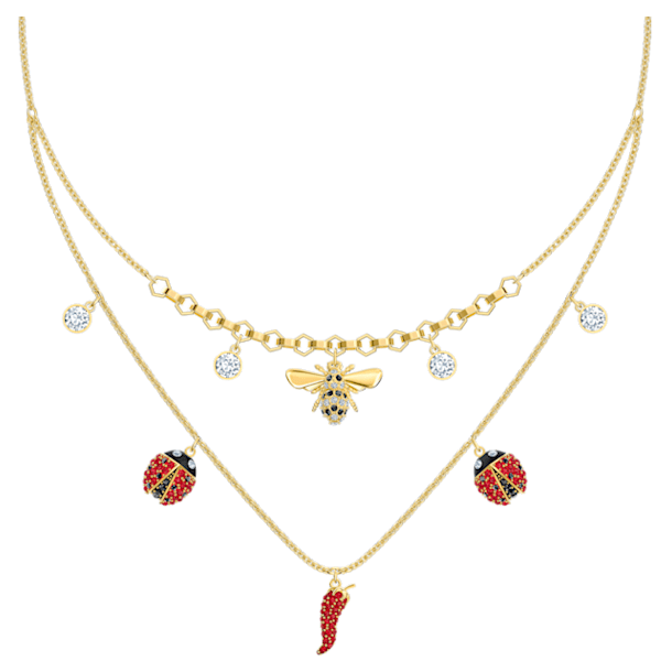 Lisabel nyaklánc, piros, arany árnyalatú bevonattal - Swarovski, 5498807