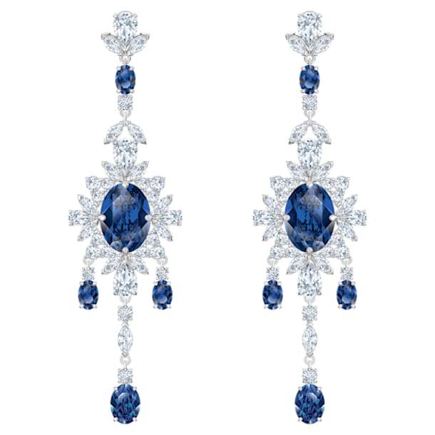 Palace Chandelier穿孔耳環, 藍色, 鍍白金色 - Swarovski, 5498817