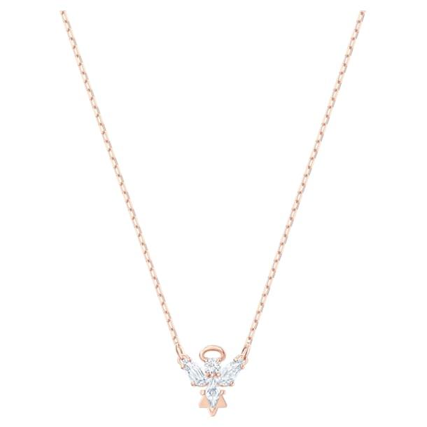 Κολιέ Magic, Άγγελος, Λευκό, Επιμετάλλωση σε ροζ χρυσαφί τόνο - Swarovski, 5498966
