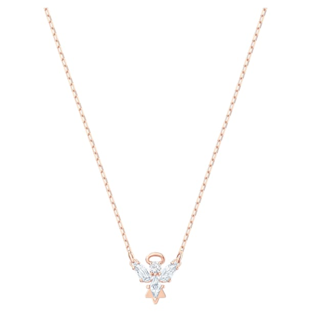 Náhrdelník Magic, Anděl, Bílá, Pokoveno v růžovozlatém odstínu - Swarovski, 5498966