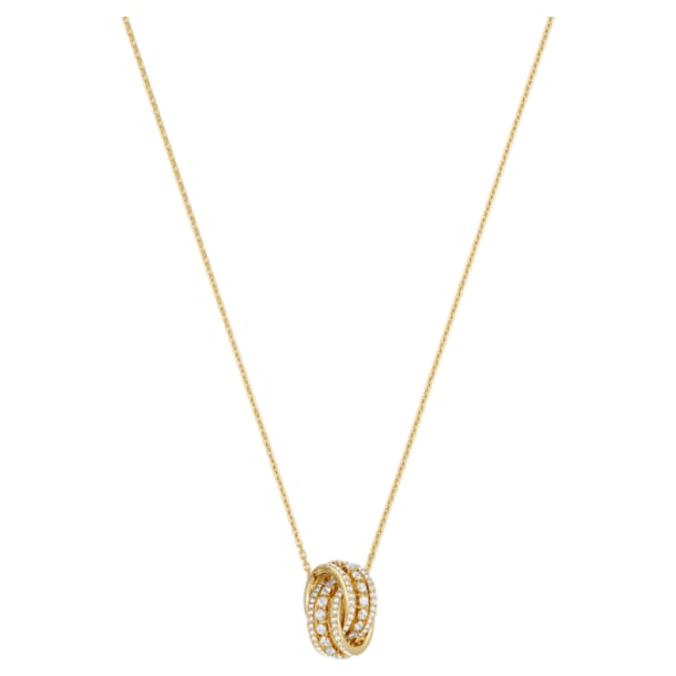 Náhrdelník Further, Bílá, Pokoveno ve zlatém odstínu - Swarovski, 5498997