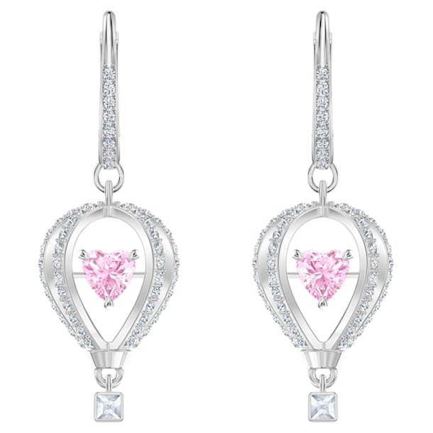 Into the Sky Drop Pierced Earrings, Pink, Rhodium plated - Swarovski, 5499528