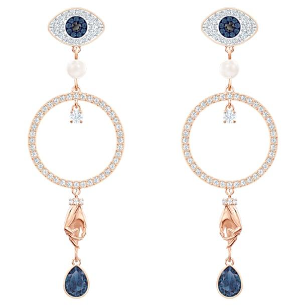Pendientes de aro Swarovski Symbolic, Evil eye, Azul, Baño tono oro rosa - Swarovski, 5500642