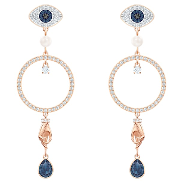 Swarovski Symbolic Hoop Pierced Earrings, Multi-colored, Rose-gold tone plated - Swarovski, 5500642
