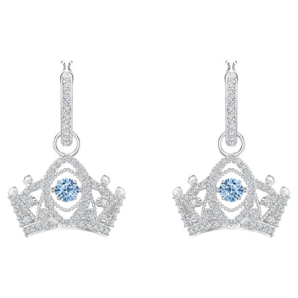 Bee A Queen Drop Pierced Earrings, Blue, Rhodium plated - Swarovski, 5501081
