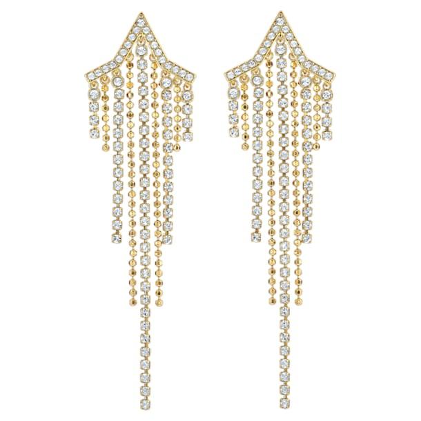 Fit csillag alakú bedugós láncos fülbevaló, fehér, arany árnyalatú bevonattal - Swarovski, 5504571
