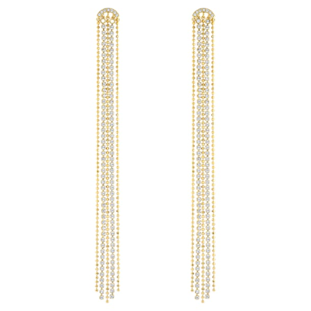 Fit Pierced Tassell Earrings, White, Gold-tone plated - Swarovski, 5504572