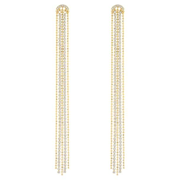 Kolczyki sztyftowe z frędzlami Fit, białe, w odcieniu złota - Swarovski, 5504572