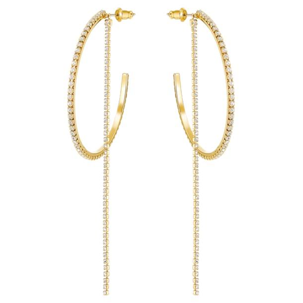 Argolas para orelhas furadas Fit, brancas, banhadas a dourado - Swarovski, 5504573