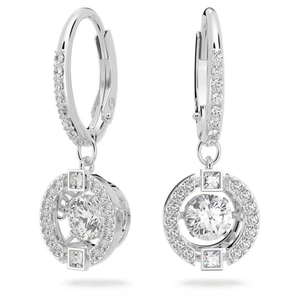 Swarovski Sparkling Dance earrings, Round, White, Rhodium plated - Swarovski, 5504652