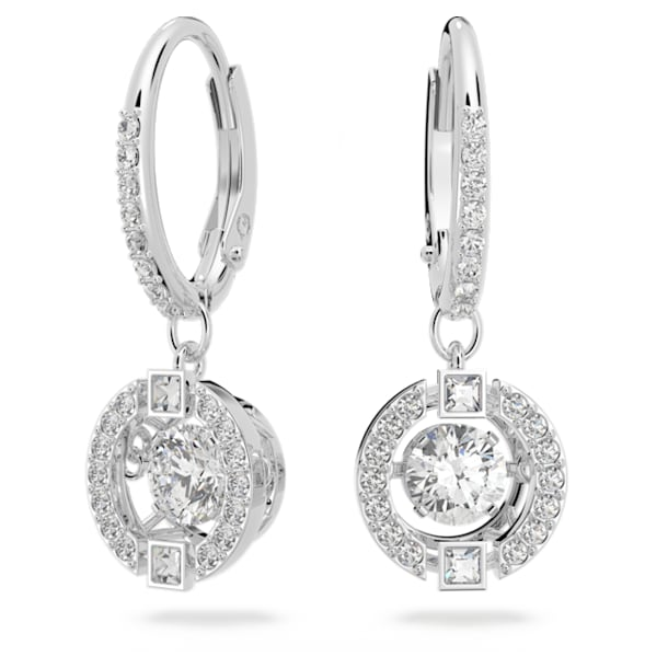 Swarovski Sparkling Dance 穿孔耳環, 白色, 鍍白金色 - Swarovski, 5504652