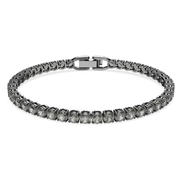 Tennis Deluxe bracelet, Round, Gray, Ruthenium plated - Swarovski, 5504678