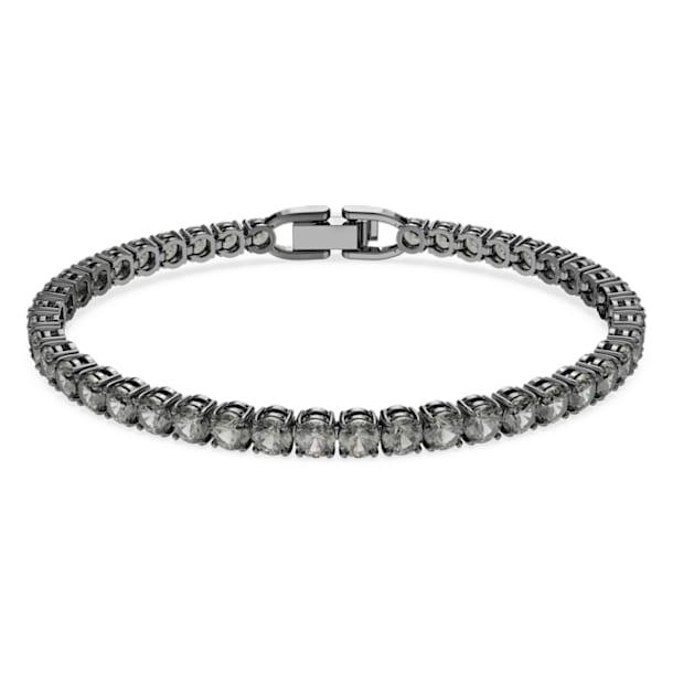Tennis Deluxe bracelet, Round, Grey, Ruthenium plated - Swarovski, 5504678