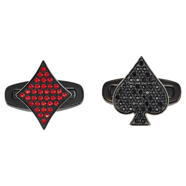 Unisex Tarot Magic Cufflinks, Red, Black PVD - Swarovski, 5504779