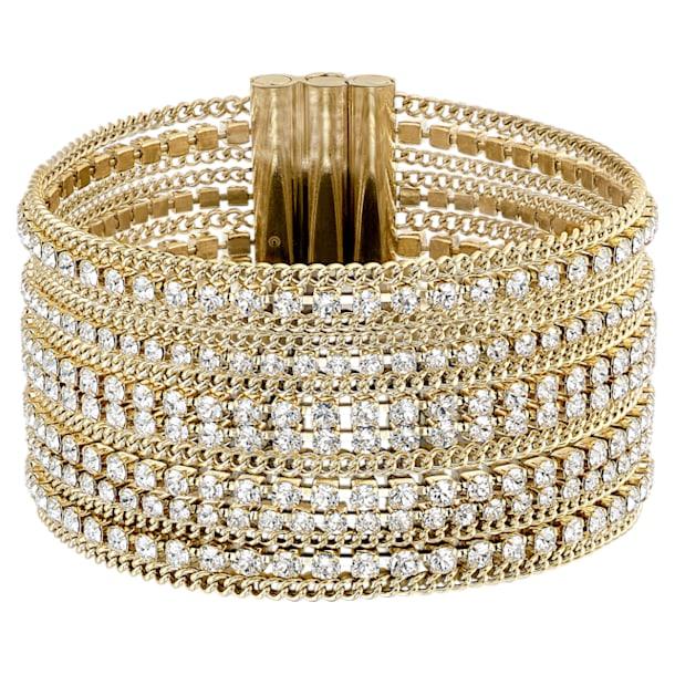 Náramek Fit Wide, Bílá, Pokoveno ve zlatém odstínu - Swarovski, 5505333
