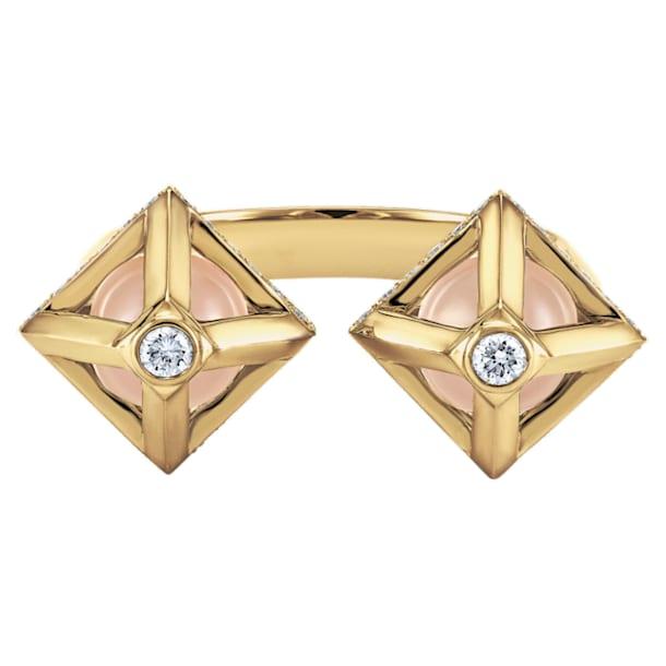 Double Diamond Open Ring, Created Diamonds, 14K Yellow Gold, Size 52 - Swarovski, 5505354