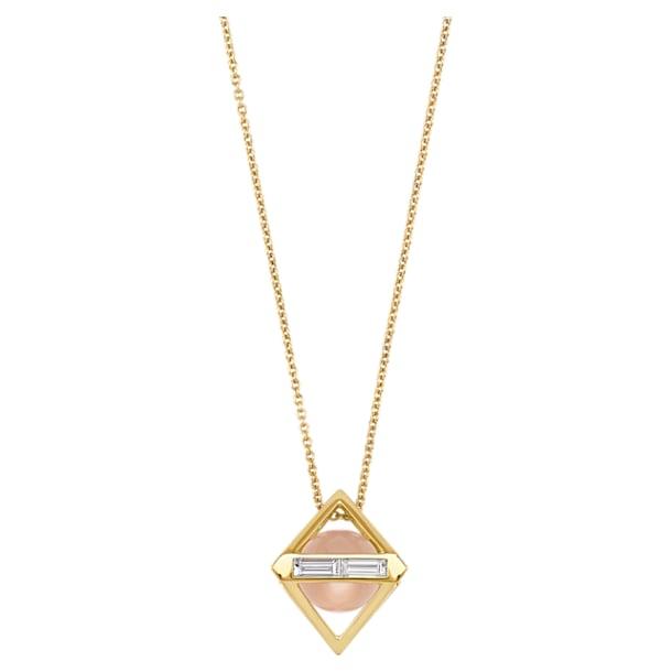 Double Diamond Pendant, Genuine Rose Quartz & Swarovski Created Diamonds, 14K Yellow Gold - Swarovski, 5505359