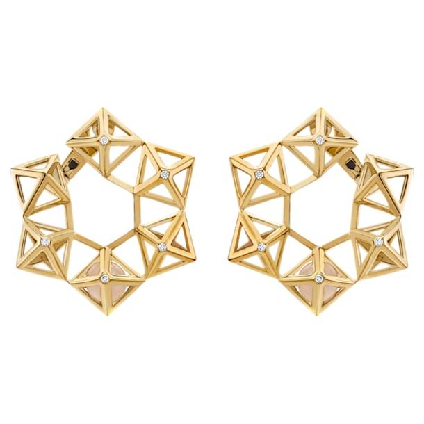 Double Diamond Statement Earrings, Genuine Rose Quartz & Swarovski Created Diamonds, 14K Yellow Gold - Swarovski, 5505371