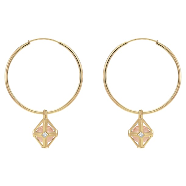 Double Diamond Drop Earrings, Genuine Rose Quartz & Swarovski Created Diamonds, 14K Yellow Gold - Swarovski, 5505372