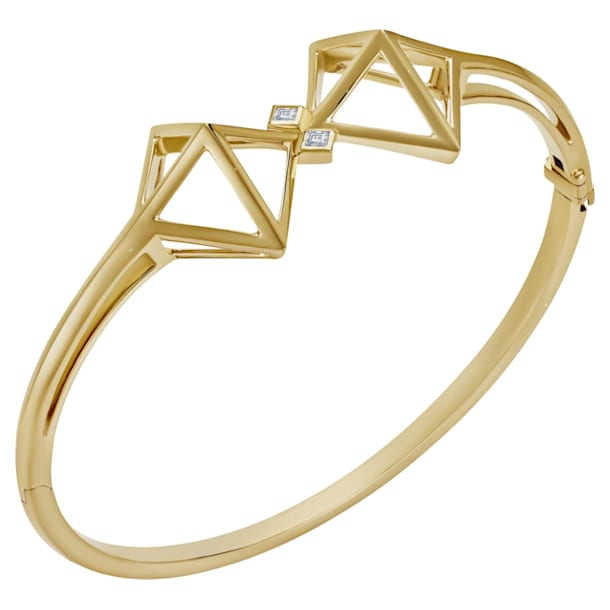 Double Diamond Bangle, Swarovski Created Diamonds, 14K Yellow Gold - Swarovski, 5505378