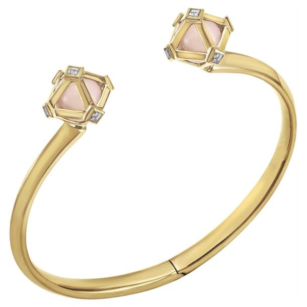 Double Diamond Open Cuff, Genuine Rose Quartz & Swarovski Created Diamonds, 14K Yellow Gold - Swarovski, 5505384