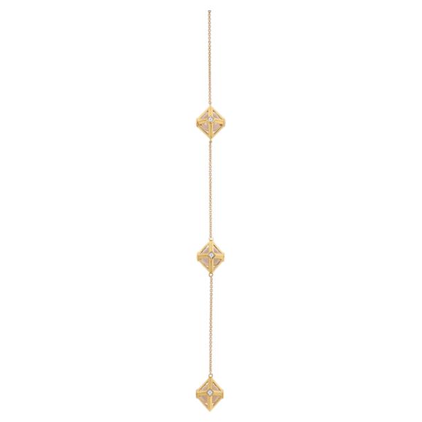 Double Diamond Wrap Pendant, Genuine Rose Quartz & Swarovski Created Diamonds, 14K Yellow Gold - Swarovski, 5505385