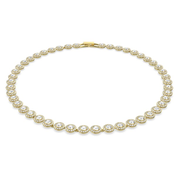 Angelic necklace, Round, White, Gold-tone plated - Swarovski, 5505468