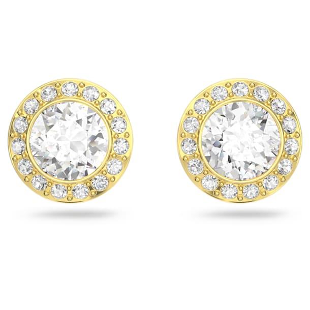 Σκουλαρίκια με καραφάκι Angelic, Στρογγυλό, Λευκό, Επιμετάλλωση σε χρυσαφί τόνο - Swarovski, 5505470
