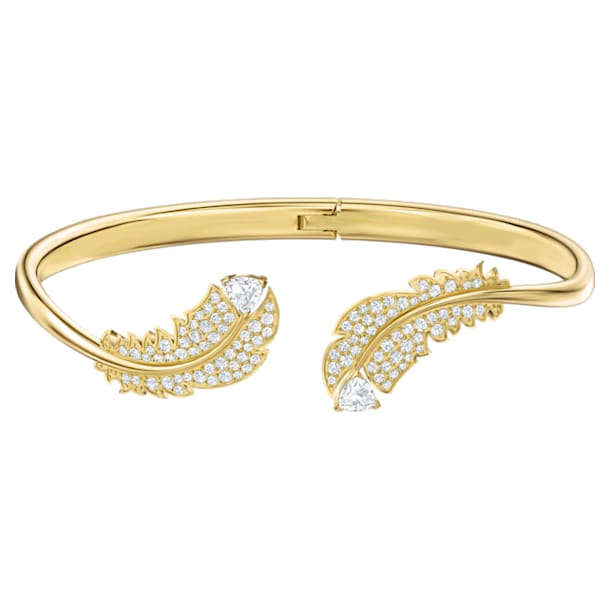 Bransoletka typu bangle Nice, biała, w odcieniu złota - Swarovski, 5505622