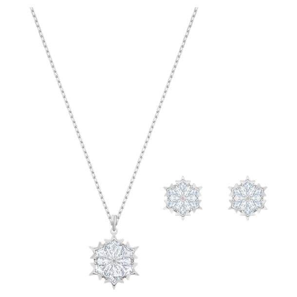 Magic Snowflake Set, White, Rhodium plated - Swarovski, 5506235